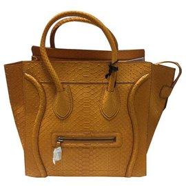 Céline-celine mini luggage python new yellow-Jaune