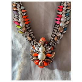 Shourouk-Collier shourouk neuf en perles et strass multicolore.-Multicolore