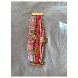 Hipanema-Pink new hipanema bracelet, green and golden, Golden clasp-Pink,Golden,Green