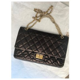 Chanel-2.55 Reissue 227 Shoulder Flap Bag-Other,Metallic,Dark brown