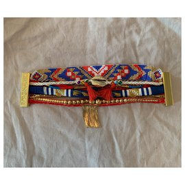 Hipanema-Bracelet hipanema new blue, red and gold, Golden clasp-Red,Blue,Golden
