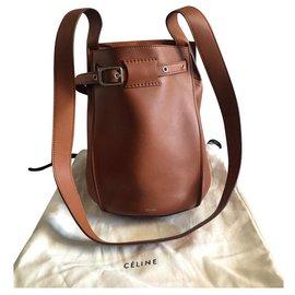 Céline-CELINE BIG BAG BUCKET BAG WITH STRAP NEW-Brown