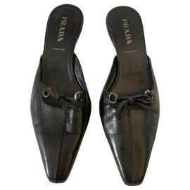 Prada-sandales en cuir brossé noir-Noir