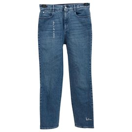 Stella Mc Cartney-Organic denim with embroideries-Blue
