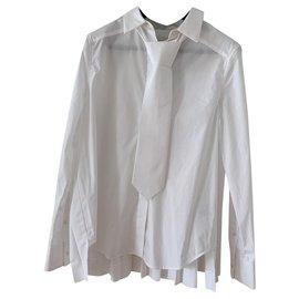 Cos-Chemise en coton avec cravate neuve cos-Blanc