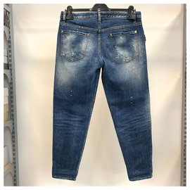 Dsquared2-Embellished denim jeans-Blue