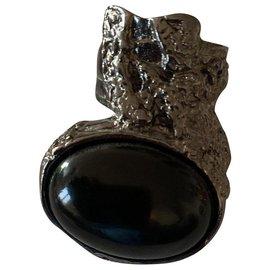 Yves Saint Laurent-Bague arty en onyx noire et plaqué argent Yves saint laurent-Noir