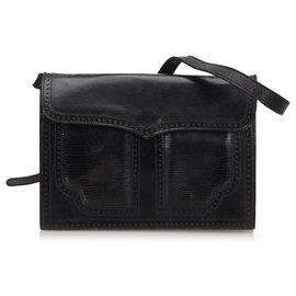 Yves Saint Laurent-YSL Sac à bandoulière en cuir noir-Noir