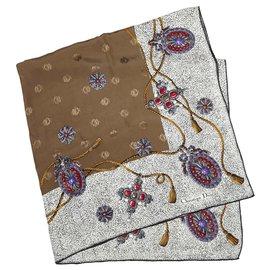 Dior-Dior Brown Printed Silk Scarf-Brown,Multiple colors