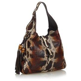 Gucci-Gucci Sac à bandoulière New Jackie Tassel en python brun-Marron,Multicolore