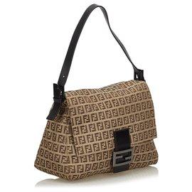 Fendi-Fendi Brown Zucchino Canvas Mamma Forever Shoulder Bag-Brown,Beige,Dark brown