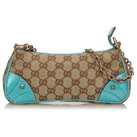 Gucci-Gucci Brown Nailhead GG Canvas Chain Baguette-Marron,Bleu
