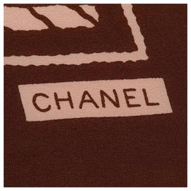 Chanel-Chanel White Printed Silk Scarf-Brown,White