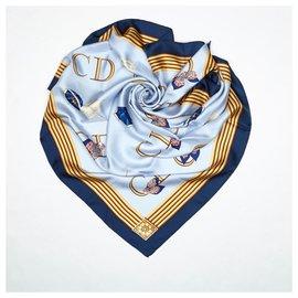 Dior-Dior Blue Printed Silk Scarf-Blue,Multiple colors,Navy blue