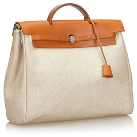 Hermès-Hermes White Canvas Herbag MM Handbag-Brown,White
