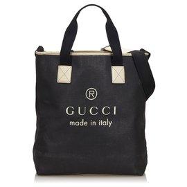 Gucci-Grand sac cabas avec logo en toile enduite noir noir Gucci-Noir