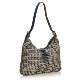 Fendi-Fendi Brown Zucchino Canvas Shoulder Bag-Brown,Blue,Light brown,Navy blue