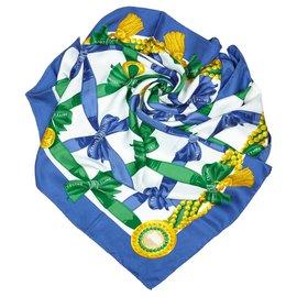 Céline-Foulard en soie imprimée bleu Céline-Bleu,Multicolore
