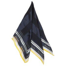 Dior-Dior Blue Printed Silk Scarf-White,Blue,Navy blue