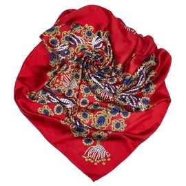 Chanel-Chanel Red Gem Printed Silk Scarf-Red,Multiple colors