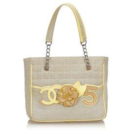 Chanel-Chanel Gray Camellia CC No 5 Tote bag-Grey,Yellow