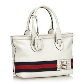 Gucci-Sac cabas Gucci White Heritage-Blanc,Multicolore