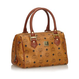 MCM-MCM Brown Visetos Leather Boston Bag-Brown