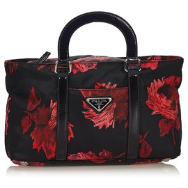Prada-Prada Black Printed Nylon Handbag-Black,Red
