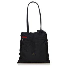 Prada-Prada Black Fur Shoulder Bag-Black