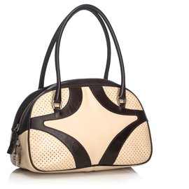 Prada-Prada White Leather Handbag-Brown,White,Dark brown