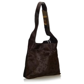 Gucci-Gucci Brown Pony Hair Shoulder Bag-Brown,Dark brown