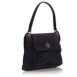 Gucci-Gucci Blue Micro GG Suede Shoulder Bag-Brown,Blue,Navy blue