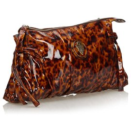 Gucci-Gucci Brown Patent Leather Hysteria Clutch Bag-Brown,Black