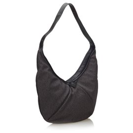 Yves Saint Laurent-YSL Brown Canvas Hobo Bag-Brown