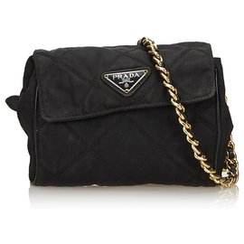 Prada-Prada Black Nylon Chain Belt Bag-Black