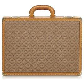 Gucci-Gucci Brown Micro GG Porte-documents-Marron,Beige