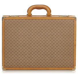 Gucci-Gucci Brown Micro GG Briefcase-Brown,Beige