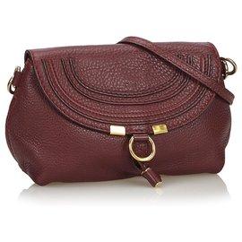 Chloé-Chloe Red Small Leather Marcie Crossbody Bag-Red,Dark red