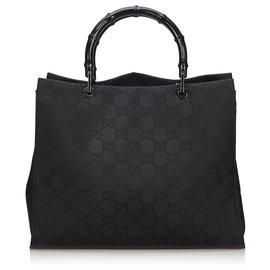 Gucci-Gucci Black GG Canvas Bamboo Handbag-Black