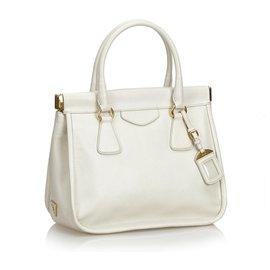 Prada-Prada White Leather Handbag-White,Cream