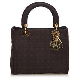 Dior-Dior Black Cannage Nylon Lady Dior Handbag-Black