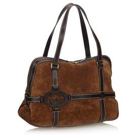Gucci-Gucci Brown Suede Handbag-Brown,Dark brown