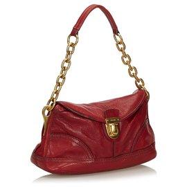 Prada-Prada Red Leather Shoulder Bag-Red,Golden