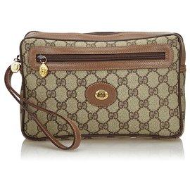 Gucci-Gucci Brown GG Clutch Bag-Brown,Beige