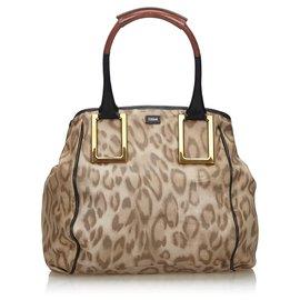 Chloé-Chloe Gray Leopard Print Leather Ethel Handbag-Multiple colors,Other,Grey