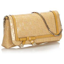 Gucci-Gucci Brown Guccisima Patent Leather Shoulder Bag-Brown,Beige