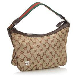 Gucci-Gucci Brown GG Canvas Web Baguette-Brown,Beige