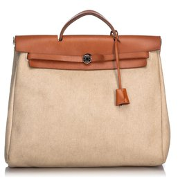 Hermès-Hermes White Canvas Herbag MM Satchel-Brown,White,Cream