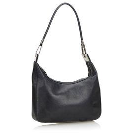 Gucci-Gucci Black Leather Shoulder Bag-Black