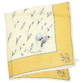 Dior-Dior Yellow Printed Silk Scarf-Multiple colors,Yellow
